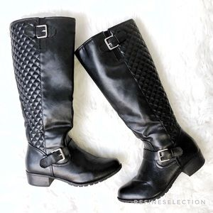 Xhilaration Quilted Knee High Black Boots